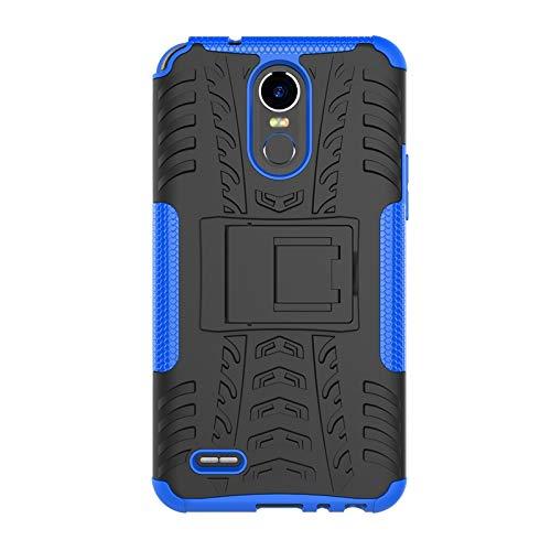 LG Stylo 3ケース、B1ST LG Stylus 3 Plusケース、LG K10 Proケース、キックスタンド付きミリタリータイヤレザーヘビーデューティカバー耐衝撃コーナープロテクション耐衝撃性落下防止、耐傷性TPUソフトカバー(ブルー)   B074SWL3PZ