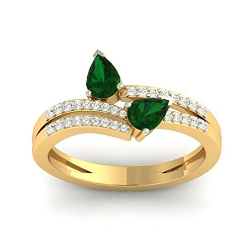 Or jaune 18K 0,19carat Diamant Taille ronde (IJ | SI) Émeraude et diamant Bague