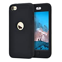 Dailylux iPod Touch 6 Case,iPod Touch 5 Case 3in1 Hybrid Full Body Impact Resistant Shockproof PC Silicone Protective Cover for iPod Touch 5th 6th Generation-Black