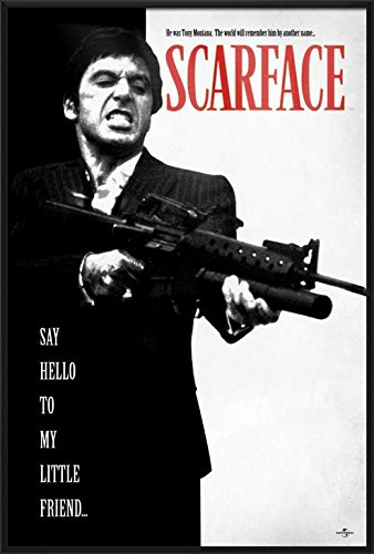 Framed Scarface Movie Poster - Scarface - Framed Movie Poster / Print (Tony Montana - Say Hello To My Little Friend) (Size: 24