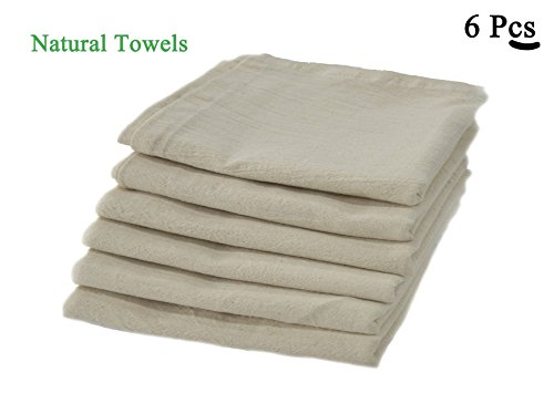 Natural Flours (100% Premium Cotton flour sack towels - Natural. Pack of 6 ( 28 x 28 ) inches. Embossed effect on towels for High water absorbency. Easy wash and quick dry. The multi - purpose towel. Durable.)