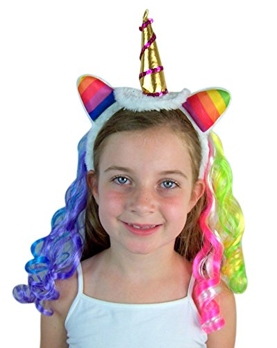Unicorn Horn Headband with Rainbow Mane, One Size Fits Most by Needzo (Image #3)