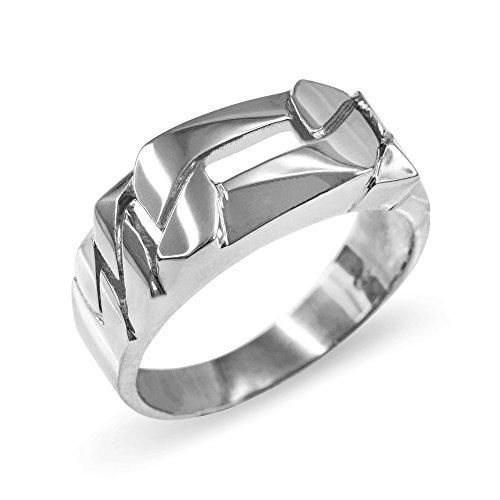 Figaro Link Chain Ring for Men in 925 Sterling Silver (Size (Figaro Sterling Silver Ring)