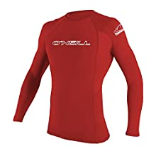 O'neill Men's Basic Skins UPF 50+ Long Sleeve Rash Guard, Red, X-Large