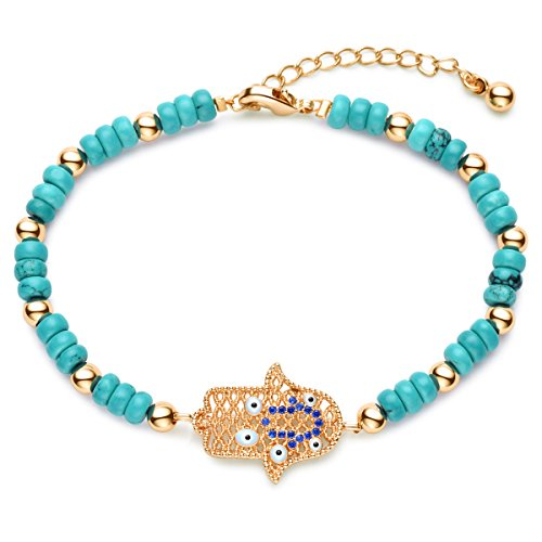 Karseer Gold Plated Filigree Hamsa Hand Charm Protection Bracelet with Turquoise Beaded Adjustable Extension Chain Gift of Friendship for Girls or Women (Turquoise Hamsa Hand Bracelet)