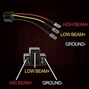 KASLIGHT H4 Harness - Pair H4 Socket H4 to 3 Pin Adapter H4 9003 HB2 Harness H4 Headlight Harness H4 Wiring Harness, Fix Un-standard Pins on H4 Headlamps, like 7x6 5x7 4656 H4656 4x6 Led Headlights