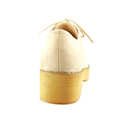 Angkorly - Chaussure Mode Derbies plateforme femme finition surpiqûres coutures Talon bloc 5 CM - Beige