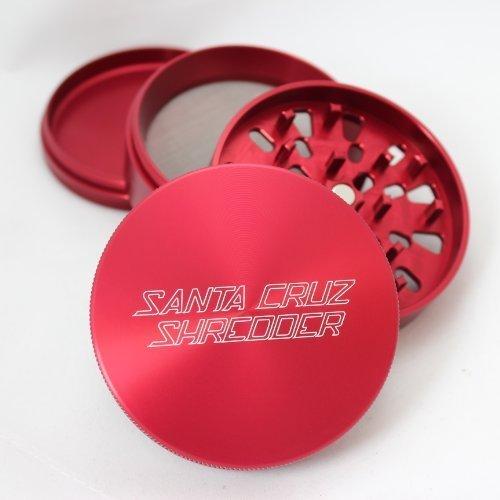 Large Santa Cruz Shredder Red 4 Piece Grinder with a Cali Crusher Pollen Press
