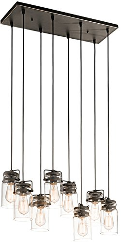 Kichler 42890OZ Brinley Linear Chandelier 8-Light, Olde Bronze