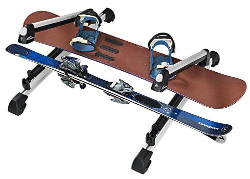 Rooftop SnowRack Plus Ski Rack for Cars Fits 6 Pairs Skis or Fits 4 Snowboards, Fit most of the flat and round and thick crossbars. Also carrying fishing rods, paddles, ski poles and water skis