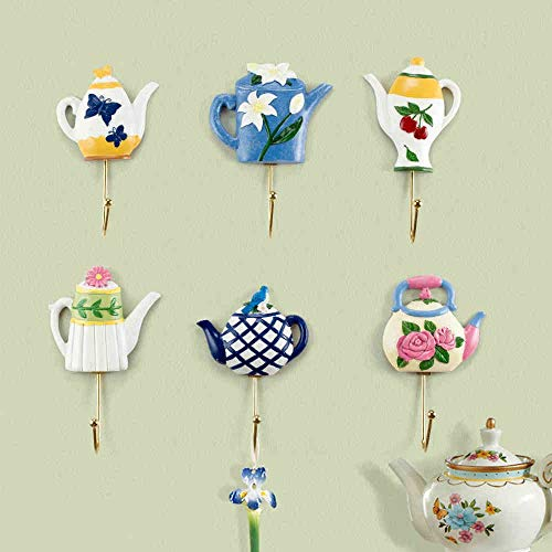 Hall Teapot Colors - GONGFF Handicraft Decoration- 6 Types of Optional Hook Creative Home Decoration Hook Entrance Hall Entrance Flower Tea Pot Coat Hat Hook -Best Gift (Color : A Set of Six)