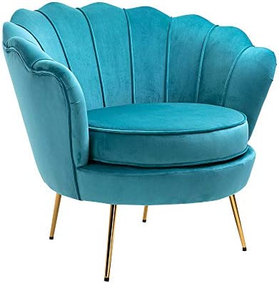 Goujxcy Upholstered Velvet Accent Lounge Chair,Modern Upholstered Sofa Chair with Golden Metal Legs,Home Office Furniture Sky Blue