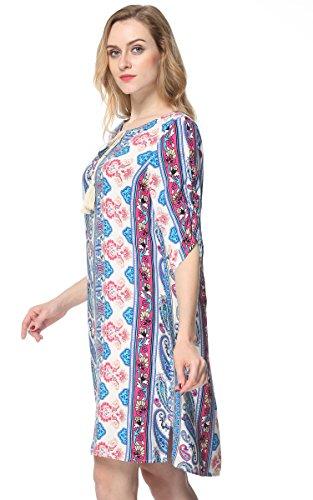 Boho Casual Bohemian Vintage Tunic Printed Women's ARANEE Dress Loose Blue YqTwvxnA