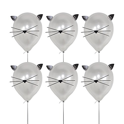 12 inch Party Latex Balloons ,DIY Cat Balloons Large Silver Balloons for Baby Shower ,Cat Birthday Party Decoration Supplies (6 Pack)