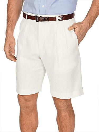Paul Fredrick Men's Linen Pleated Shorts Ivory 38