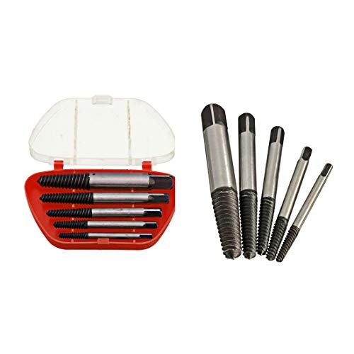 【The Best Deal】OriGlam 5PCS Screw Extractor Easy Out Set Drill Bits, Guide Broken Damaged Bolt Remover Tools Kit Set 3-19mm ()