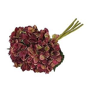 EZFLOWERY 5 Pcs Artificial Silk Hydrangeas Flowers Bouquet Arrangement, for Home Decor, Wedding, Office, Room, Hotel, Event, Party Decoration (Violet Purple) 46