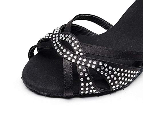 uk6 Our40 Noirs7 Cristaux De Chaussures modern tango Eu39 Latin Sandales chacha samba Jazz Femme Sparking Hauts Talons Satin Salsa chaussures 5cm UwwgpR