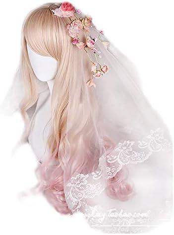 原宿風 GAL系 耐熱ウィッグ かつら コスプレ パーティー ロリータlolita風 日常 (ピンク&金混色
