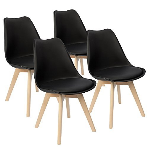 Furmax Eames Style Chair Mid Century Modern Dining Chair Upholstered Side Chair With Beech Wood Legs and Soft Padded Shell Chair for Dining Room Living Room Bedroom Kitchen, Set of 4(Black) 41A3xkAPHkL