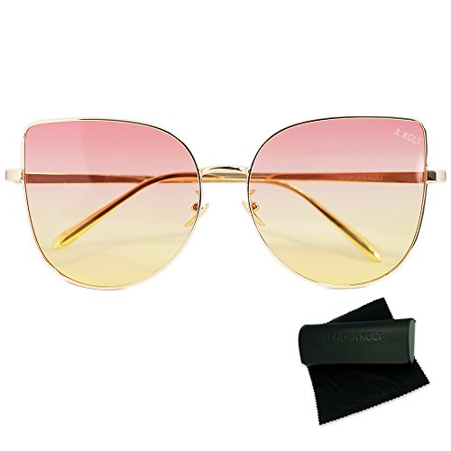 Alondra Kolt The Hayda Gradient lenses Cat Eye Sunglasses (Gold, - Sunglasses For Popular Women