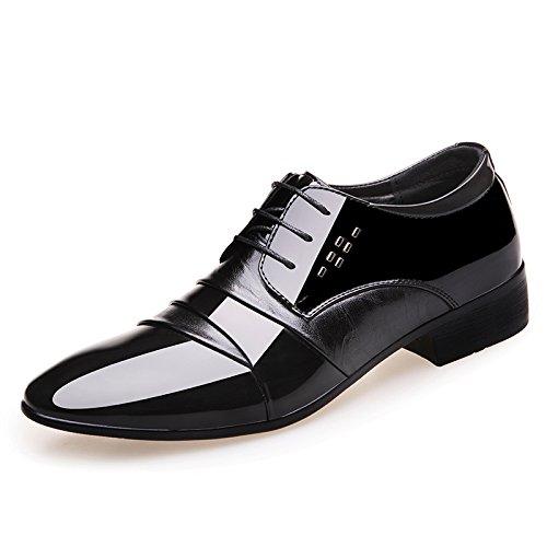 Shine Men's Leather Oxfords Black Show Fun Shoes Patent Lace Up qngRPd