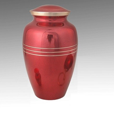 Classic Red Funeral Urn -Adult, Brass, Funeral Urn