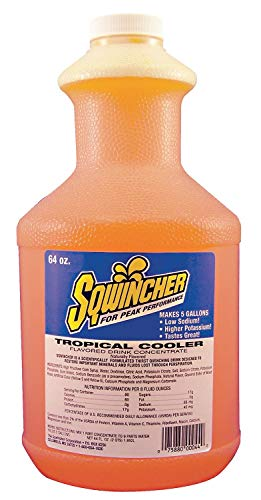 Tropical Sqwincher Cooler (Sqwincher Tropical Cooler Liquid Concentrate Sports Drink Mix, Package Size: 64 oz, Yield: 5 gal, 1 EA - 030329-TC, (Pack of 2))