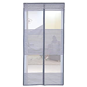 "Liveinu Magnetic Screen Door with Upgraded Velcro & Sticker Pin Install,Reinforced Fly Screen Door Keeps Bugs Off Gray 33""x 78"""