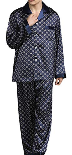 YIMANIE Mens Silk Satin Pattern Pajamas Set Classic Sleepwear Loungewear Long Sleeve Nightwear Set Sleep Shirt & Sleep ()