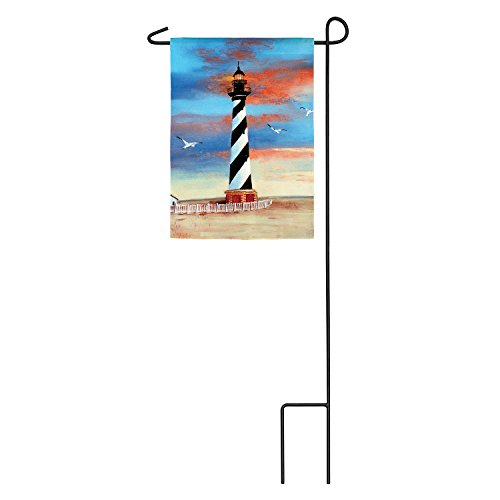 Evergreen Cape Hatteras Lighthouse Outdoor Safe Double-Sided Suede Garden Flag, 12.5 x 18 ()