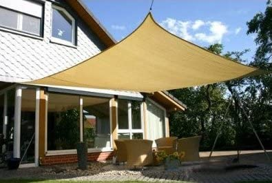 Heavy Duty 16 x 16 Square Garden Outdoor Sun Shade Sail Canopy Sand