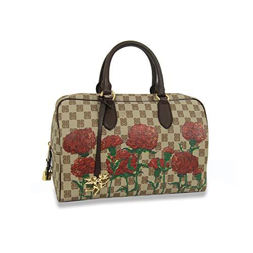 piero guidi borsa a mano donna bauletto con stampa PG Monogramma Red Carnation - 6167D3086.56