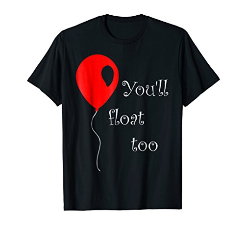 Mens IT is Halloween Costume Red Balloon You'll Float Too T Shirt 2XL Black