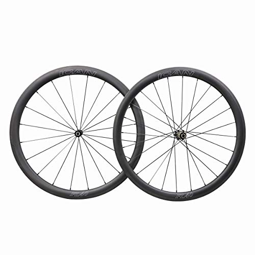 ICAN FL40 Carbon Road Bike Wheelset 40mm Clincher Tubeless Ready Rim 25mm Wide Straight Pull Sapim CX-Ray Spoke 1400g ()