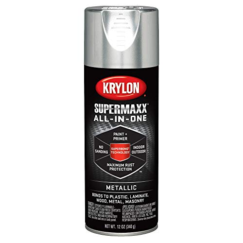 Krylon K08991000 SUPERMAXX All-In-One Spray Paint, Silver Metallic, 12 Ounce