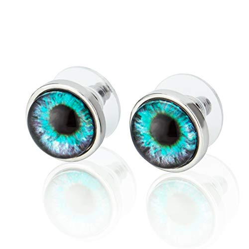 Stainless Steel Stud Earrings of Evil Eye, Unisex, Punk, Light Blue ()