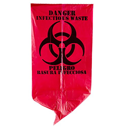 TableTop King 7 Gallon 17'' X 18'' Red Isolation Infectious Waste Bag / Biohazard Bag High Density 12 Microns - 1000/Case
