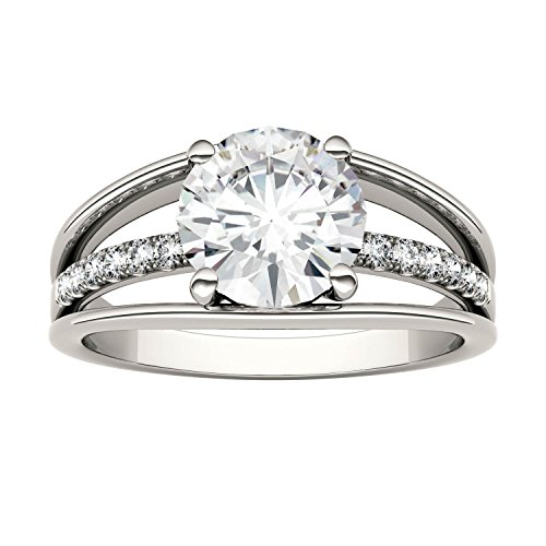 Forever Brilliant Round 8.0mm Moissanite Ring-size 8, 2.04cttw DEW By Charles & Colvard by Charles & Colvard