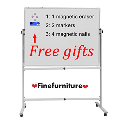 Double-sided Mobile WhiteBoard with Stand, 48 X 36'' Magnetic Dry Erase Board by Finefurniture