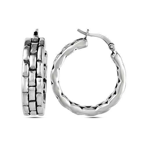 ling Silver Jewelry Light Weight Bricks Texture Antique Finish Electroforming Hoop Earrings (Antique Brick Finish)