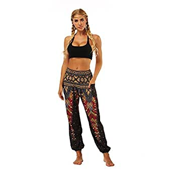 AMOMA Women's Harem Pants with Pockets Indie Folk Hippy Aladdin Boho Style Casual Bloomers(Free Size,A-Black Feather)