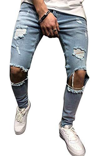 Causal Skinny Jeans Ragged Mupoduvos Hombres Suave Agujero Rasgado Azul Pnats Denim Y8wCTqxp