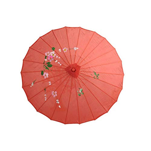 - Powerfulline Chinese Vintage Silk Umbrella Stylish Elegant Wedding Decor Photo Shoot Parasol Dance Props Red