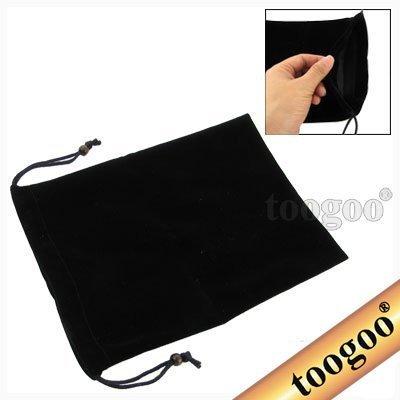 TOOGOO(R) Black Drawstring Velvet Sleeve Bag Case for 7