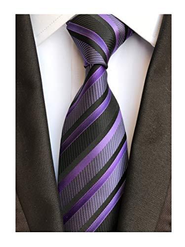 Men Big Boys Repp Striped Lilac Purple Black Woven Silk Tie Regular Soft Necktie