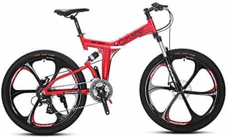 97dde046034 VTSP Folding Bike Mountain Bike Full Suspension Frame Foldable Bicycle,  RD100 Shimano Aults M310 24