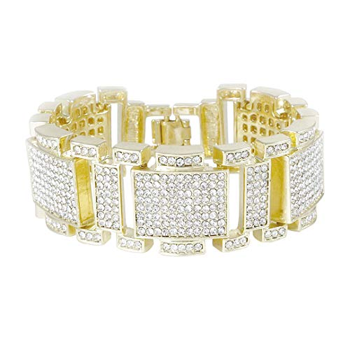 NIV'S BLING - 14k Yellow Gold/White Gold/Black Gold-Plated Iced Out Bracelet ()