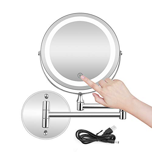 BRIGHTINWD 5X LED Wall Mounted Makeup Mirror with Dimmable Lights Stainless Steel -