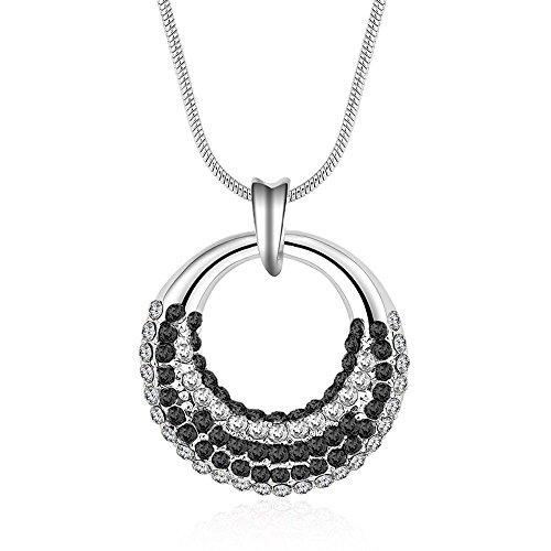 Black Diamond Elephant (Winter's Secret Black Like Moon Shape Circle Pendant Diamond Accented 18K Silver Crystal Women Necklace)